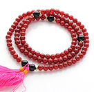 Wholesale Amazing Round Carnelian Beads Rosary/Prayer Bracelet with Black Agate Beads and Pink Tassel(can also be worn as necklace)
