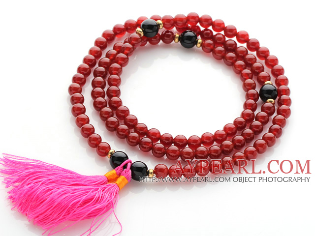 Amazing Round Carnelian Beads Rosary/Prayer Bracelet with Black Agate Beads and Pink Tassel(can also be worn as necklace)