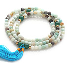 Amazing Round Amazon Stone Beads Rosary/Prayer Bracelet with Green Agate Beads and Tassel(can also be worn as necklace)