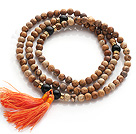 Wholesale Amazing Round Picture Jasper Beads Rosary/Prayer Bracelet with Black Agate Beads and Tassel(can also be worn as necklace)