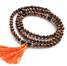Wholesale Amazing Faceted Tiger Eye Beads Rosary/Prayer Bracelet with Black Agate Beads and Tassel(can also be worn as necklace)