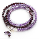 Wholesale Beautiful Wrap Round Amethyst and Garnet Beads Rosary Bracelet with Clear Ctystal Beads(can also be worn as necklace)