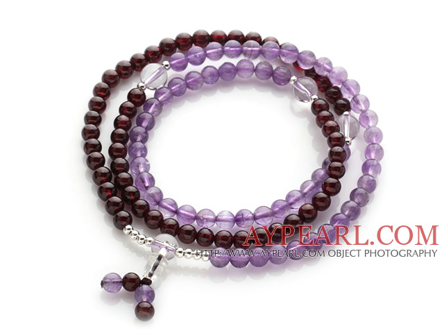 Beautiful Wrap Round Amethyst and Garnet Beads Rosary Bracelet with Clear Ctystal Beads(can also be worn as necklace)