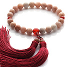 Wholesale Newly Fashion Single Strand Round Sunstone and Carnelian Holding Prayer Beads with Red Tassel