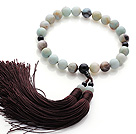 Wholesale Newly Fashion Single Strand Round Amazon Stone and Black Agate Holding Prayer Beads with Brown Tassel