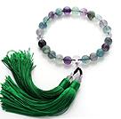 Newly Fashion Single Strand Round Fluorite and Clear Crystal Holding Prayer Beads with Green Tassel