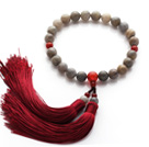 Newly Fashion Single Strand Round Flashing Stone and Carnelian Holding Prayer Beads with Red Tassel