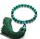 Newly Fashion Single Strand Round Green Turquoise and Black Agate Holding Prayer Beads with Green Tassel