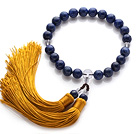 Newly Fashion Single Strand Round Lapis and Clear Crystal Holding Prayer Beads with Yellow Tassel