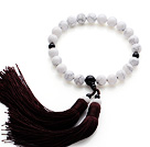 Newly Fashion Single Strand Round Howlite and Black Agate Holding Prayer Beads with White Tassel