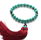Newly Fashion Single Strand Round Turquoise and Black Agate Holding Prayer Beads with Red Tassel