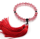Wholesale Newly Fashion Single Strand Round Cherry Quartz and Black Agate Holding Prayer Beads with Red Tassel