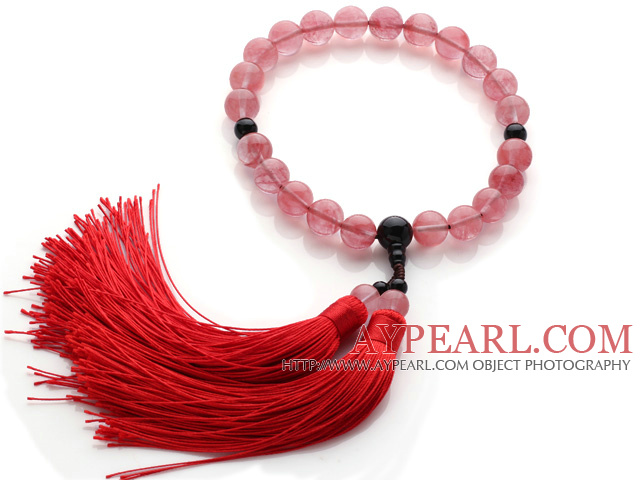 Newly Fashion Single Strand Round Cherry Quartz and Black Agate Holding Prayer Beads with Red Tassel