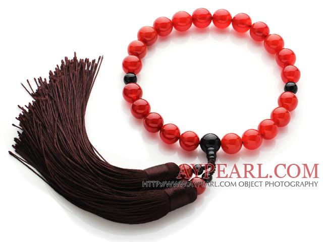 Newly Fashion Single Strand Round Carnelian and Black Agate Holding Prayer Beads with Tassel