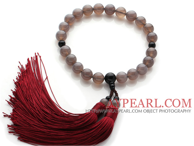 Newly Fashion Single Strand Round Grey Agate and Black Agate Holding Prayer Beads with Red Tassel