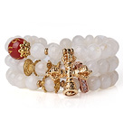 Wholesale Amazing Hot Three Strands Round Moonstone Bracelet with Carnelian and Amulet Accessory