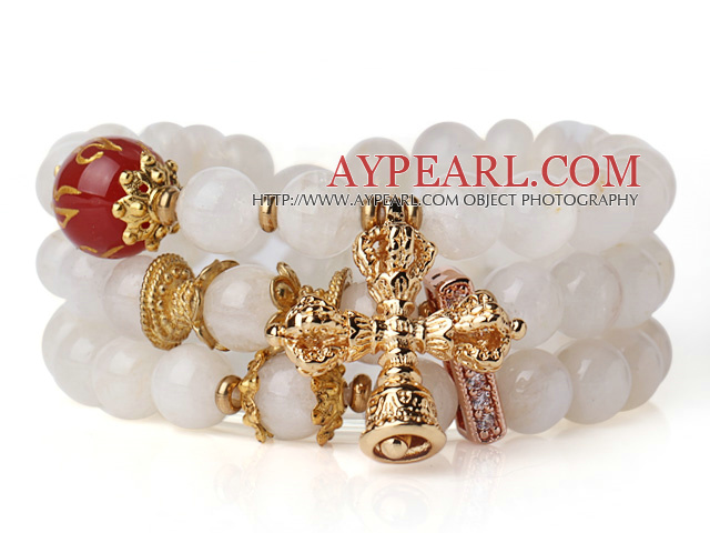 Amazing Hot Three Strands Round Moonstone Bracelet with Carnelian and Amulet Accessory