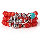 Amazing Hot Three Strands Round Red Coral Beads Bracelet with Turquoise and Amulet Accessory