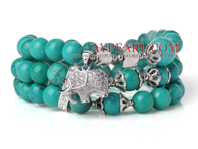 Amazing Hot Three Strands Round Green Turquoise Beads Bracelet with Lucky Elephant Accessory