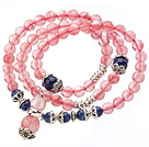 Wholesale Pretty Three Strands Round Cherry Quartz Bracelet with Lapis Beads and Tibet Silver Accessory