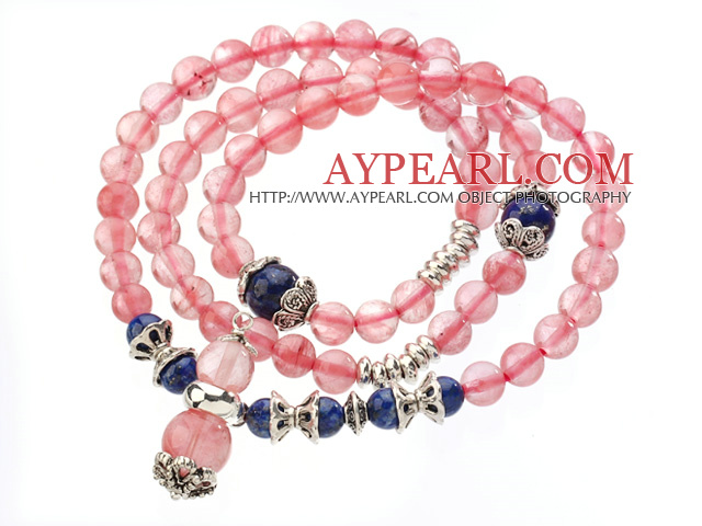 Pretty Three Strands Round Cherry Quartz Bracelet with Lapis Beads and Tibet Silver Accessory