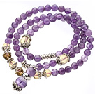 Wholesale Pretty Three Strands Round Amethyst Beads Bracelet with Citrine Beads