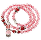Wholesale Pretty Three Strands Cherry Quartz Beads Bracelet with Carnelian and Tibet Silver Accessory