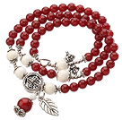 Pretty Three Strands A Grade Round Carnelian Beads Bracelet with White Sea Shell and Leaf Accessory
