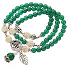 Pretty Three Strands A Grade Round Green Agate Beads Bracelet with White Agate and Tibet Silver Accessory