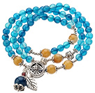 Pretty Three Strands Round Blue Agate Beads Bracelet with Yellow Jade and Tibet Silver Accessory