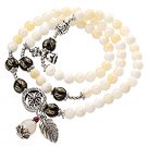 Pretty Three Strands Round Sea Shell Beads Bracelet with Black Agate and Tibet Silver Accessory