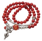 Pretty Three Strands Round Coral Beads Bracelet with Carnelian and Tibet Silver Accessory
