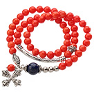 Pretty Three Strands Round Coral Beads Bracelet with Lapis Beads and Amulet Accessory