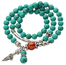 Pretty Three Strands Round Green Turquoise Beads Bracelet with Carnelian and Amulet Accessory