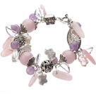 Wholesale Vintage Style Heart Shape Clear Crystal Rose Quartz Amethyst Tibet Silver Accessory Charm Bracelet With Toggle Clasp