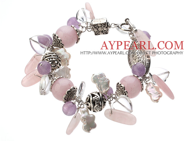 Vintage Style Heart Shape Clear Crystal Rose Quartz Amethyst Tibet Silver Accessory Charm Bracelet With Toggle Clasp