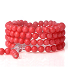 Fashion 108 Round 6mm Red Coral Beads Multilayer Prayer Bangle Bracelet