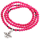 Wholesale Classic Design Multi Strands Round Rose Red Jade Beads Amulet Bracelet With Metal Cross Charm