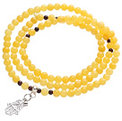 Fashion Design Multi Strands Round Bright Yellow Jade Beads Amulet Bracelet With Metal Charm