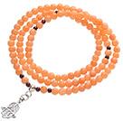Classic Design Multi Strands Round Orange Jade Beads Amulet Bracelet With Metal Charm