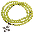 Wholesale Classic Design Multi Strands Round Olivine Green Jade Beads Amulet Bracelet With Metal Cross Charm
