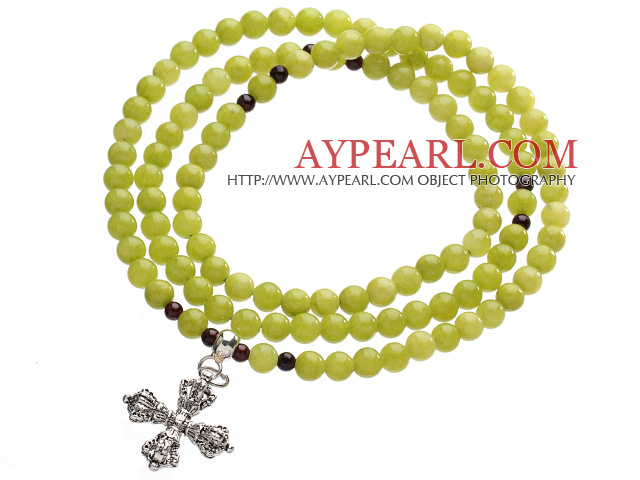 Classic Design Multi Strands Round Olivine Green Jade Beads Amulet Bracelet With Metal Cross Charm