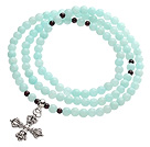 Wholesale Classic Design Multi Strands Round Light Blue Jade Beads Amulet Bracelet With Metal Cross Charm