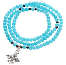 Wholesale Classic Design Multi Strands Round Blue Jade Beads Amulet Bracelet With Metal Cross Charm