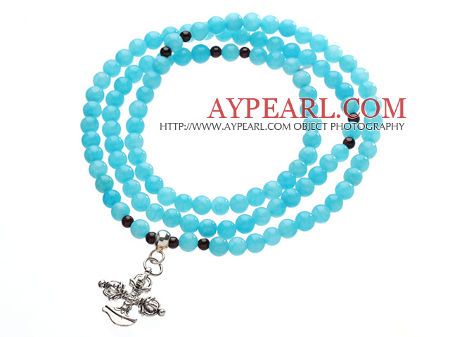 Classic Design Multi Strands Round Blue Jade Beads Amulet Bracelet With Metal Cross Charm