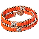 Popular Style Double Strands Orange Color Cylinder Shape Turquoise Brown Leather Woven Wrap Bangle Bracelet