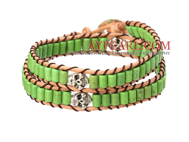 Popular Style Double Strands Green Color Cylinder Shape Turquoise Brown Leather Woven Wrap Bangle Bracelet With Metal Skull Head