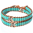 Popular Style Double Strands Cylinder Shape Blue Turquoise Brown Leather Woven Wrap Bangle Bracelet With Metal Skull Head