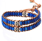 Populære stil Double Strands Cylinder Shape Deep Blue Turkis Brun Leather Woven Wrap Bangle armbånd med Metal Skull Hode