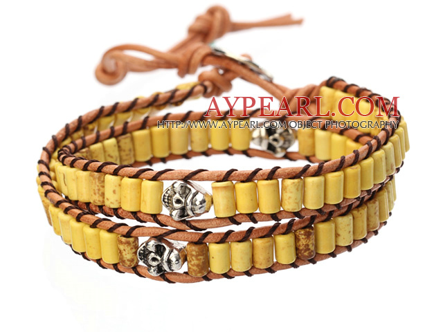 Popular Style Double Strands Cylinder Shape Yellow Turquoise Brown Leather Woven Wrap Bangle Bracelet With Metal Skull Head